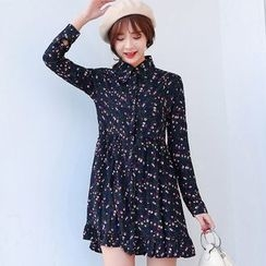 Sienne - Long-Sleeve Floral A-line Dress