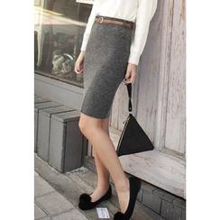 REDOPIN - Slit-Hem Wool Blend Pencil Skirt with Belt