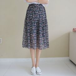 Envy Look - Floral Pattern Flare Chiffon Skirt