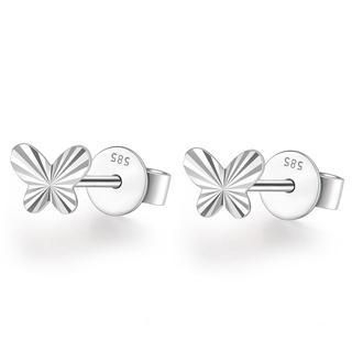 MaBelle - 14K Italian White Gold Tiny Butterfly With Diamond Cut Stud Post Earrings, Girl Jewelry in Gift Box