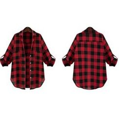 Eloqueen - Long-Sleeve Check Blouse