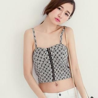 Tokyo Fashion - Zip-Front Patterned Bustier Top