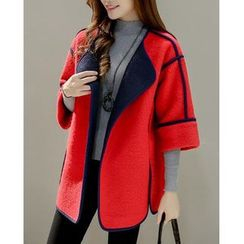 Dowisi - 3/4-Sleeve Contrast Trim Coat