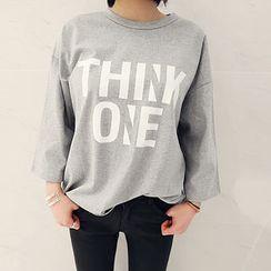 NANING9 - 'THINK ONE' Print 3/4-Sleeve T-Shirt
