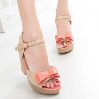 Pangmama - Bow-Accent Patent Chunky-Heel Sandals