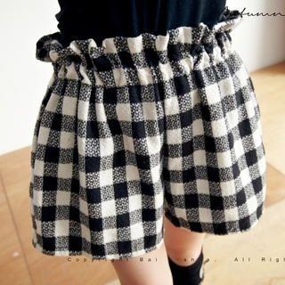 BAIMOMO - Paperbag-Waist Check Shorts