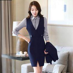 Princess Min - 套装:单扣西装外套 + 背带裙