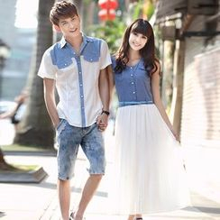Igsoo - Couple Matching Short-Sleeve Shirt