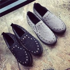 Hipsole - Faux-Suede Studded Slip-Ons