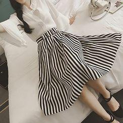 Honeydew - Set: Frilled Chiffon Blouse + Striped Midi Skirt