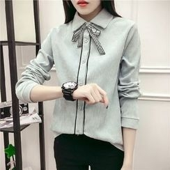 EFO - 饰蝴蝶结细直条纹衬衫