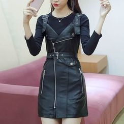 Ekim - Set: Long-Sleeve Top + Faux Leather Strap Dress