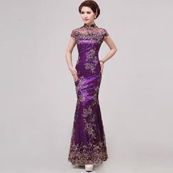 Posh Bride - Embroidered Cap Sleeve Mermaid Cheongsam