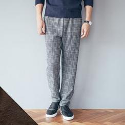 DANGOON - Brushed-Fleece Lined Check Pants