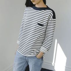 JUSTONE - Boat-Neck Elbow-Patch Stripe T-Shirt