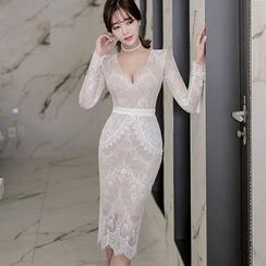 Gl.bY - 蕾絲V領修身連衣裙