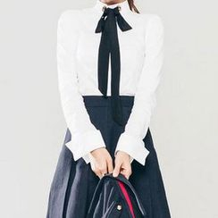 Gl.bY - Tie-Neck Long-Sleeve Shirt