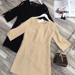 AIGIL - 3/4-Sleeve Plain Dress