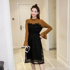 CHIH - Mock Two-piece Bell-Sleeve Knit Dress