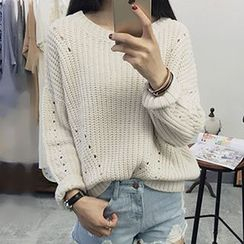 Polaris - Cut Out Cable Knit Sweater