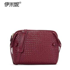 Emini House - Genuine Leather Woven Crossbody Bag