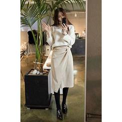 CHERRYKOKO - Knot-Front Corduroy Midi Wrap Skirt