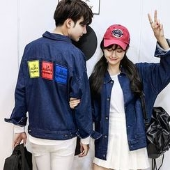 CASSY - Applique Denim Couple Matching Jacket
