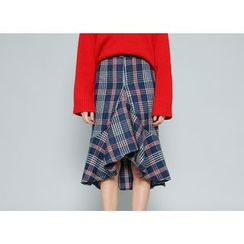 Envy Look - Ruffle-Hem Check Midi Skirt