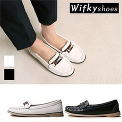 Wifky - Metal-Trim Genuine-Leather Loafers