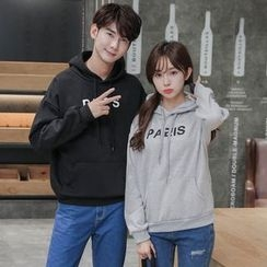 Je T'aime - Couple Matching Letter Fleece-lined Hoodie
