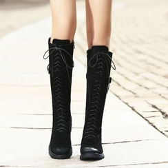 JY Shoes - Lace up Tall Boots