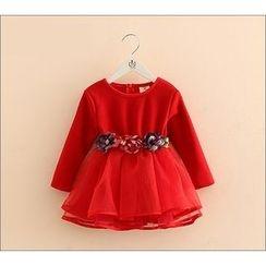 Seashells Kids - Kids Floral Applique Fleece Lined Long-Sleeve Tulle Dress