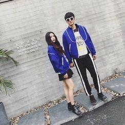 AJIEJIA - Couple Matching Stand Collar Neoprene Zip Jacket