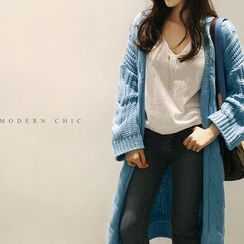 NANING9 - Open-Front Cable-Knit Long Cardigan