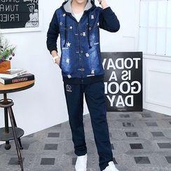 AFAM - 套装: 印花连帽外套 + 运动裤