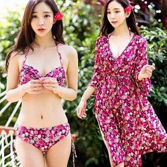 Beach Date - Set: Floral Bikini + Cover-Up / Floral Beach Shorts
