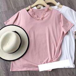 AIGIL - Short-Sleeve Lace Trim T-Shirt