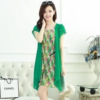 Aierys - Mock Two-Piece Floral Pleated Dress