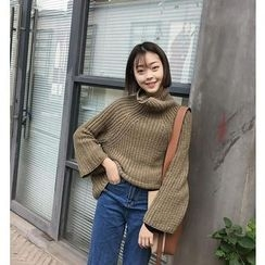 Bloombloom - Plain Mock Neck Chunky Sweater