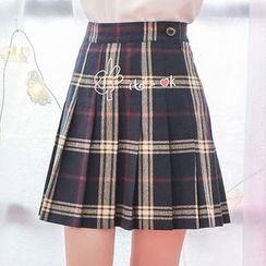 Moriville - Plaid Pleated Skirt