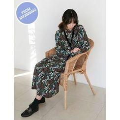 FROMBEGINNING - Mock-Neck Floral Long Dress