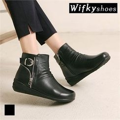 Wifky - Buckled Genuine-Leather Ankle Boots