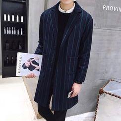 Bay Go Mall - Striped Notch Lapel Coat