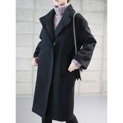 STYLEBYYAM - High-Neck Fly-Front Zip-Up Coat