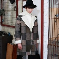 MEING - Plaid Button Coat