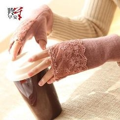RGLT Scarves - Wool Blend Lace Panel Fingerless Gloves