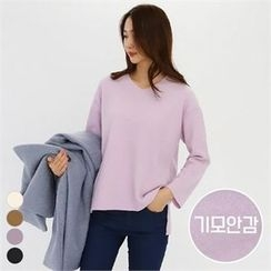 PINKSISLY - V-Neck Brushed Fleece Top