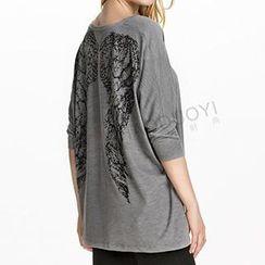 Obel - Batwing Sleeve Wing Print Top