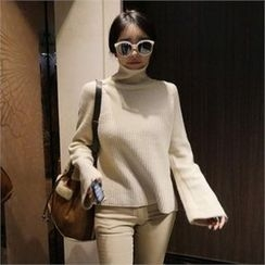 LIPHOP - Turtle-Neck Wide-Sleeve Dip-Back Knit Top