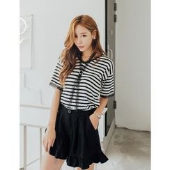 GUMZZI - Lace-Trim Striped Knit Top